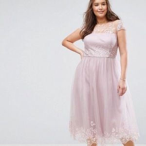 Asia curve pink lace dress